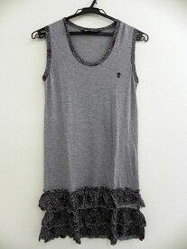 HYSTERIC GLAMOUR ヒステリックグラマー スカル刺繍 裾花柄フリル ノースリーブ チュニック シャツ グレー レディース FREE