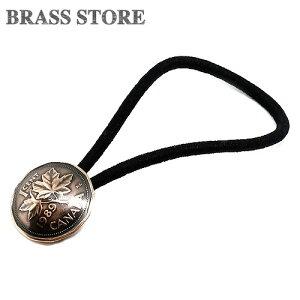 BRASS STORE ブラスストア / カナダ 1セント コインコンチョ ヘアゴムブレスレット(メープル リーフ)19mm / 硬貨 外国 バングル ビンテージ メンズ レディース 髪留め シルバー ゴールド アンク