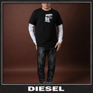 ディーゼルDIESELレイヤードスタイルTシャツ長袖メンズT-SHOOT-YA00SNRB-0091Aブラック