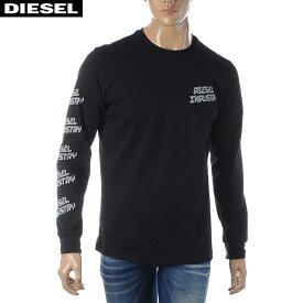 ディーゼル DIESEL クルーネックTシャツ メンズ 長袖 T-DIEGO-LS-J1 00SDQ0-0091A ブラック 2020春夏新作
