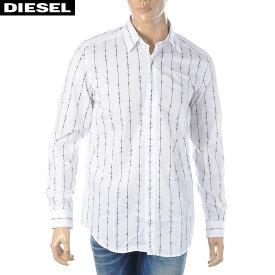 ディーゼル DIESEL プリントシャツ メンズ 長袖 S-BARBWI 00S3L9-0LAWM ホワイト 2020春夏新作