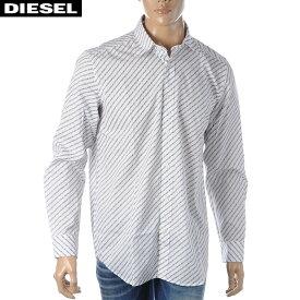 ディーゼル DIESEL プリントシャツ メンズ 長袖 S-PENN-COPY 00S96F-0PAYJ ホワイト 2020春夏新作
