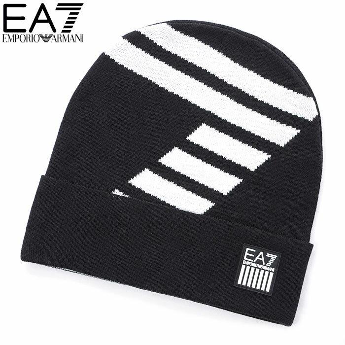 エンポリオアルマーニ EA7 EMPORIO ARMANI ニットキャップ ニット帽 メンズ 275809 8A304 ブラック 2018秋冬セール