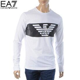 エンポリオアルマーニ EA7 EMPORIO ARMANI クルーネックTシャツ 長袖 メンズ 6GPT59 PJQ9Z ホワイト 2019秋冬新作