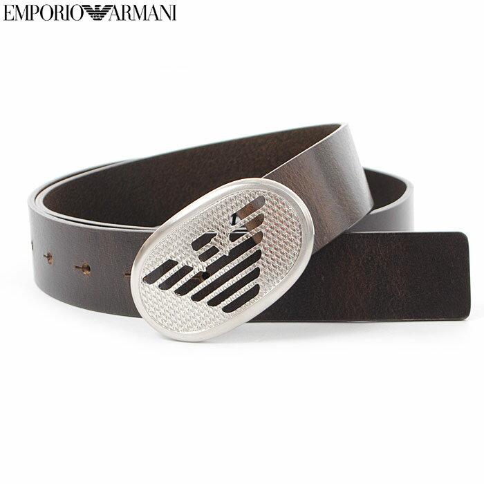 エンポリオアルマーニ EMPORIO ARMANI レザーベルト メンズ Y4S170 YAU5E ダークブラウン 2017秋冬セール