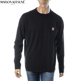 メゾンキツネ MAISON KITSUNE Tシャツ メンズ ロンT 長袖 クルーネック ブランド FU00163KJ0010 ブラック 2020秋冬セール