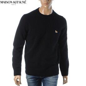 メゾンキツネ MAISON KITSUNE ニット セーター クルーネック メンズ FM00503KT1014 ブラック