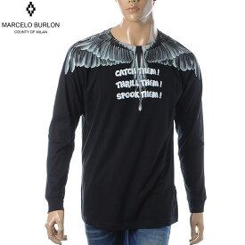 マルセロバーロン MARCELO BURLON クルーネックTシャツ 長袖 メンズ CATCH THEM WINGS T-SHIRT L/S CMAB007E190010041088 ブラック
