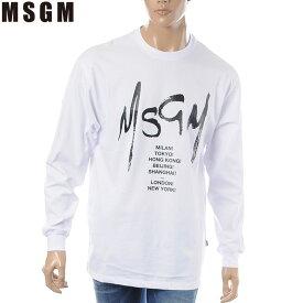 エムエスジーエム MSGM クルーネックTシャツ 長袖 メンズ 2640MM182 ホワイト