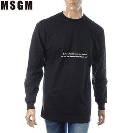 エムエスジーエム MSGM クルーネック Tシャツ 長袖 メンズ 2740MM184 195797 ブラック 2019秋冬新作