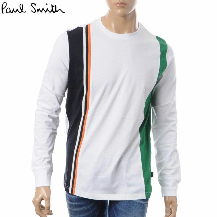 ポールスミス PAUL SMITH クルーネックTシャツ 長袖 メンズ PUXD 031S 720 ホワイト 2018春夏新作
