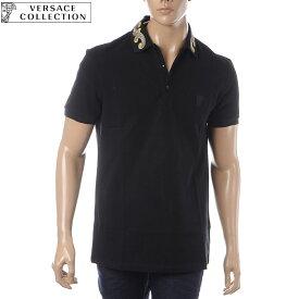 ヴェルサーチ コレクション VERSACE COLLECTION ポロシャツ 半袖 メンズ V800543N VJ00068 ブラック
