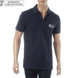 ヴェルサーチ コレクション VERSACE COLLECTION ポロシャツ 半袖 メンズ V800543T VJ00068 ネイビー