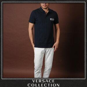 ヴェルサーチコレクションVERSACECOLLECTIONポロシャツ半袖メンズV800543TVJ00068ネイビー