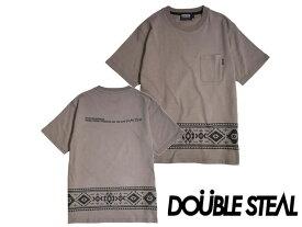 DOUBLE STEAL BLACK ダブルスティールブラック 半袖 Tシャツ 982-16203 OLLIE SAMURAI オーリー サムライ メール便対応 Native Line Tシャツ ベージュ ブラウン ネイティブ柄 ネイティブ トライバル模様