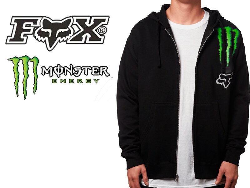 【Monster Energy モンスター エナジー】【FOX RACING フォックス レーシング】コラボ ジップ パーカー MONSTER ZEBRA ZIP UP PARKERスケボー BMX バイク 自転車 スノボープロサーキット カワサキ キツネ きつね