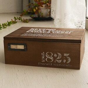 木箱 ふた付き 収納ボックス アンティーク ダークブラウン ネーム入れ金具付き 男前インテリア おしゃれ 小物入れ 裁縫箱などに プレゼントボックス アクセサリーケース BREAブレア
