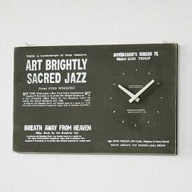 アンティーク 時計 大 壁掛け バスロールサイン風 日本製(セイコー) 木製 男前 西海岸 ブルックリン モノトーン インテリア雑貨 BREAブレア