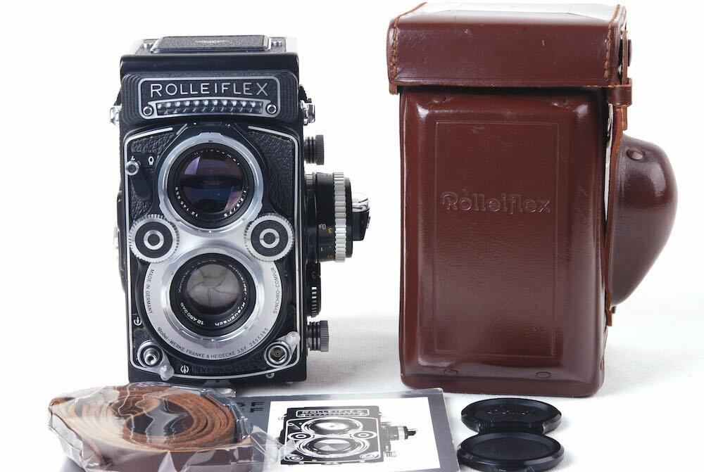 【美品】Rolleiflex/ローライ 3.5F Xenotar 75/3.5 二眼レフカメラ 革ケース付き#jp20538