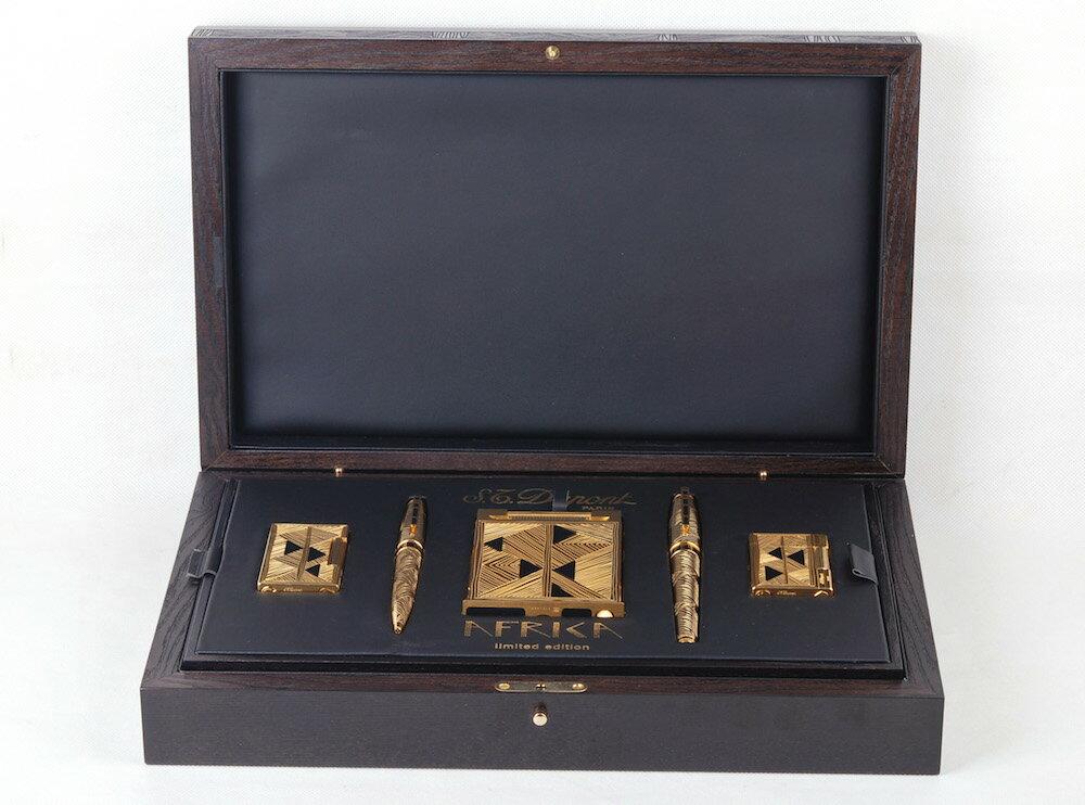 【2001年アフリカシリーズ限定版】S.T.Dupont/デュポン ゴールドコーディング ブラックアゲート象眼するライター、万年筆五件セット#jp20838