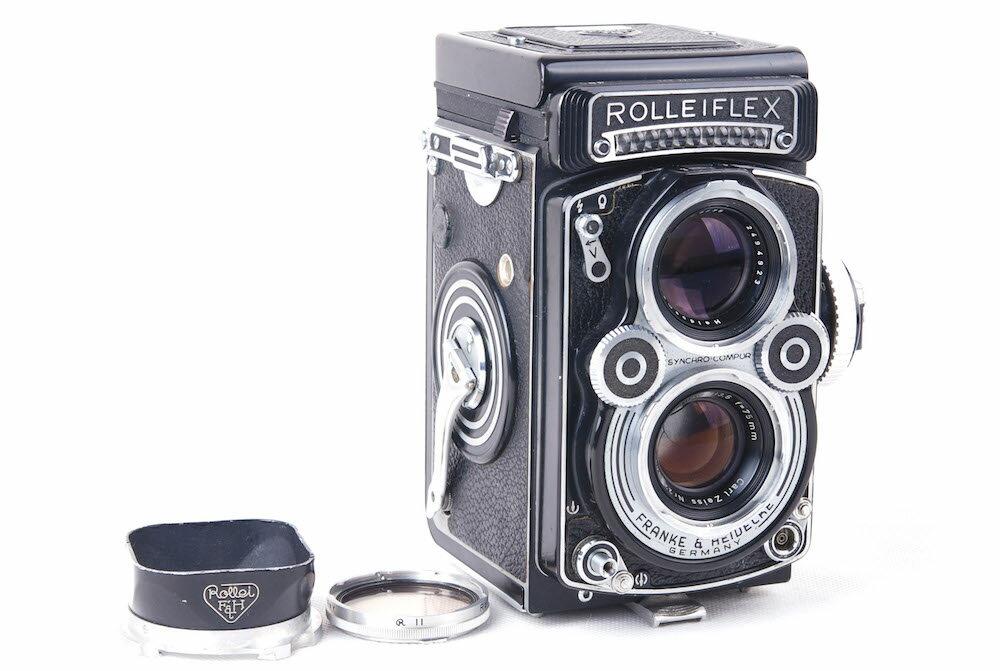【美品】ローライ/Rolleiflex 3.5F ブラック 二眼レフカメラ Planar 75/3.5レンズとフード付き#HK8000
