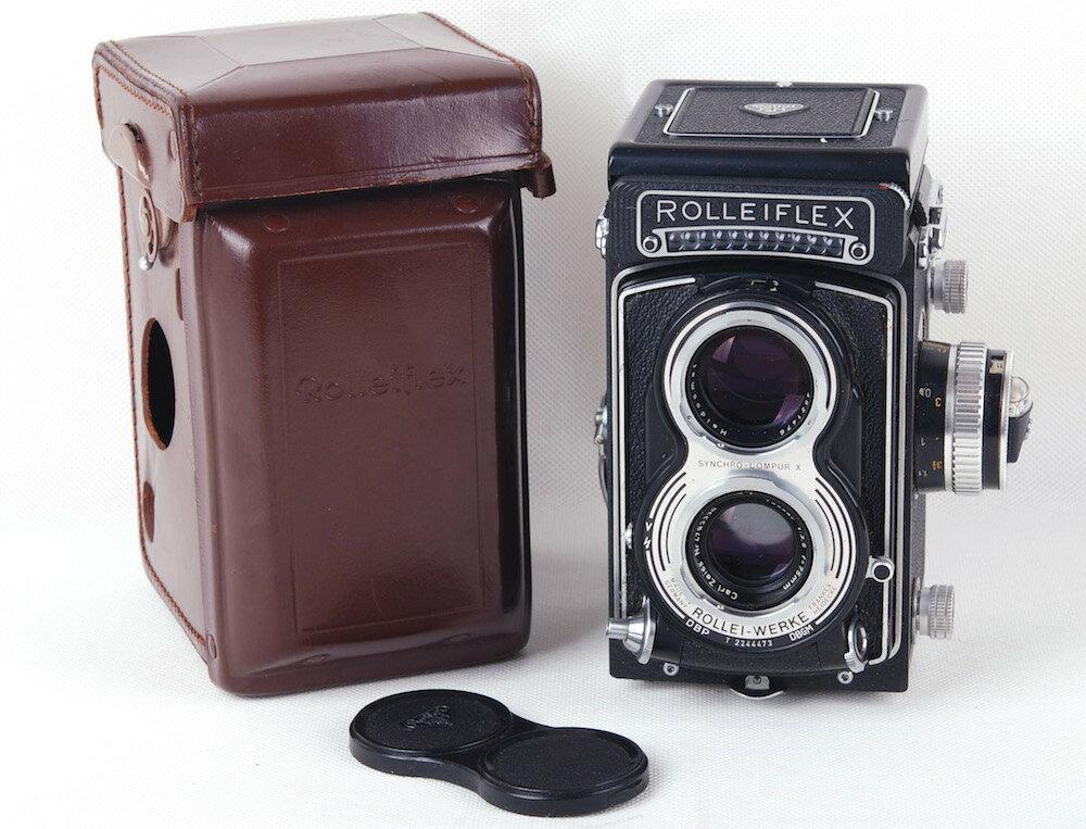 【美品】Rolleiflex/ローライ 二眼レフカメラ T 3.5T ブラック tessar 75/3.5レンズとケース付き#33721