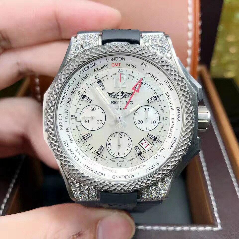 【新品】BREITLING/ブライトリング ベントレーシリーズGMT2か所タイム ダイヤモンド付きチタンラグ 45mmメンズ腕時計 EB043363/A783 #BL13