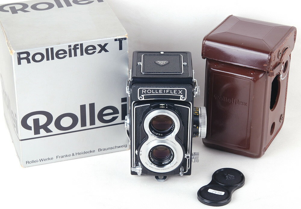 ローライフラックスRolleiflex T 3.5T tessar 75mm f3.5 革ケース付き#jp19718
