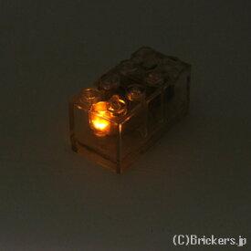 レゴ カスタム パーツ ライトブロック 2 x 4 x 1 2/3 アンバー LED [ Tr,Clear / トランスクリアー ] | lego