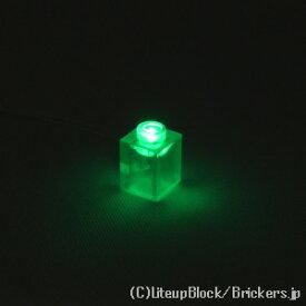レゴ カスタム パーツ ライト ブロック 1 x 1 グリーン LED USB給電式 [ Tr,Clear / トランスクリアー ] | lego