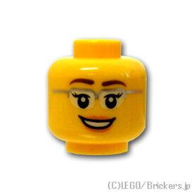レゴ パーツ ミニフィグ ヘッド - シルバーフレーム眼鏡とピンクのリップの笑顔 [ Yellow / イエロー ]   lego 部品