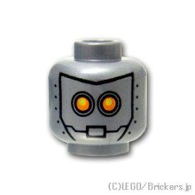 レゴ パーツ ミニフィグ ヘッド - イエローアイロボット [ Flat Silver / フラットシルバー ] | lego 部品