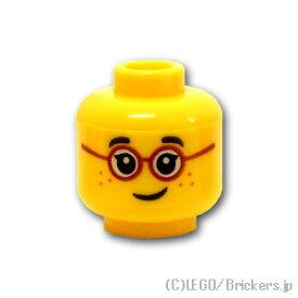 レゴ パーツ ミニフィグ ヘッド - 赤いメガネとまつげとそばかす [ Yellow / イエロー ]   lego 部品