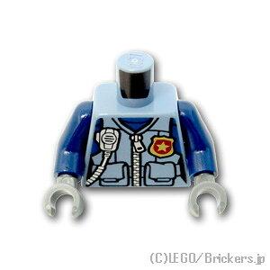 レゴ ポリス ポリスジッパーベストの女性 [Sand Blue/サンドブルー] | legoミニフィグ パーツ 警察官 トルソー