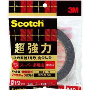 【メール便可】住友スリーエム Scotch 超強力両面テープ SPR-19 厚み1.1mm×幅19mm×長さ4m プレミアゴールド スーパー多用途 粗面用