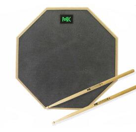 """MK12"""" ドラム練習用パッド ドラムスティック付き 高弾 静音 サイレントドラム トレーニングパッド(ブラックラバー)"""