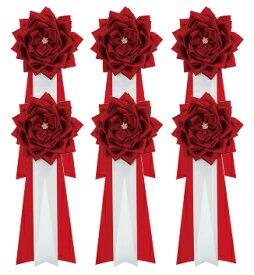胸章リボンバラ(胸バラ徽章)<大 赤-6個セット>