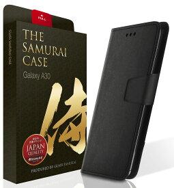【決算セール】Galaxy A30 SCV43 手帳型 ケース カバー 3つのカードポケット ブラック 黒 ストラップ付き スタンド機能 メンズ マグネット式 軽量 OVER's TP01