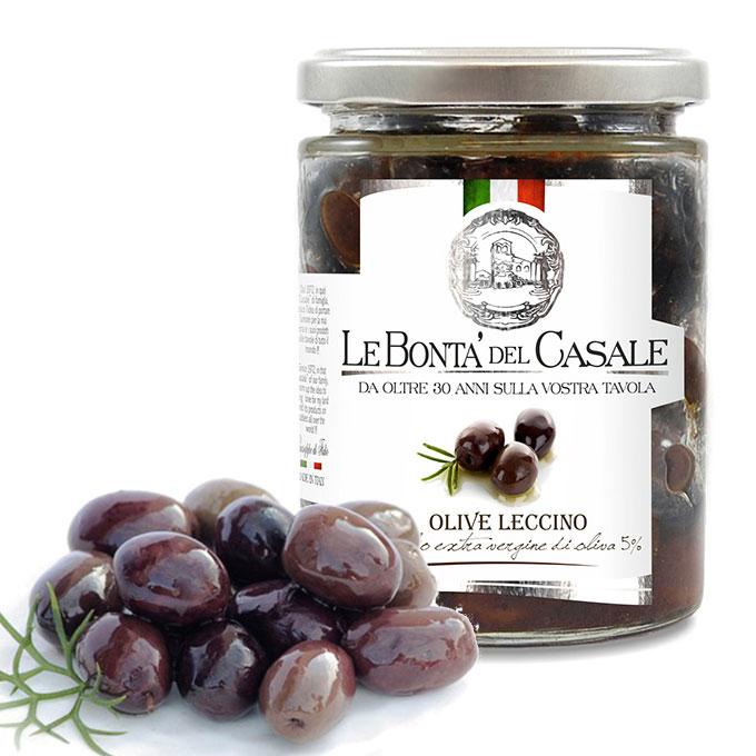 ブラックオリーブ イタリア プーリア州産 オードブル用 レッチーノ種 無着色マリネタイプ 200g black olive leccino le bonta del casale