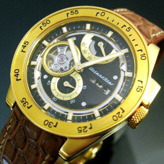 ORIENT/Orient Star camera men's watch automatic volume power reserve 18kt yellow gold Black Edition leather belt WZ0121FH (Japanese regular Edition)
