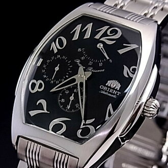 ORIENT mens watch automatic winding tonneau-shaped black character Panel metal belt CEZAB005B0