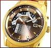 ORIENT mens watch automatic winding multi calendar Brown character Edition gold metal belt FFX 01001 TH international model