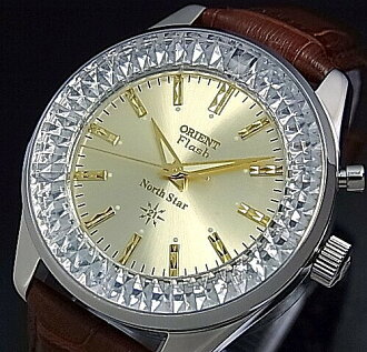 ORIENT/FLASH North star men's watch hand-wound MADE IN JAPAN gold letter Edition brown leather belt URL002DL