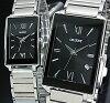 ORIENT standard quartz pair watch watch black clockface metal belt Made in JAPAN SUNEF008B0/SUBTT008B0