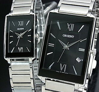 ORIENT standard quartz pair watch watch black clockface metal belt Made in JAPAN SUNEF008B0/SUBTT008B0
