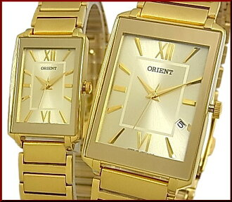 ORIENT standard quartz pair watch watch gold clockface gold metal belt Made in JAPAN SUNEF006C0/SUBTT006C0