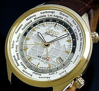 CITIZEN/에코 드라이브 맨즈 솔러 손목시계 월드 타임 GMT 탑재 브라운 레더 벨트 BJ9123-01 A(해외 모델)