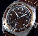 CITIZEN/Standard【シチズン/スタンダード】メンズ ソーラー腕時計 ブラウン文字盤 ブラウンレザーベルト AW1051-09W …