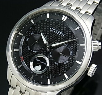 CITIZEN/ ecodrive men solar watch moon phase black clockface metal belt MADE IN JAPAN foreign countries model AP1050-56E