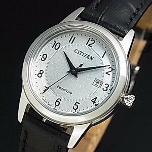 CITIZEN/Standard【シチズン/スタンダード】レディース ソーラー腕時計 シルバー文字盤 ブラックレザーベルト 海外モデル【並行輸入品】FE1081-08A